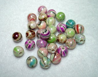 Assorted Color Wave Printed Acrylic Round Beads (Qty 30) - B2699