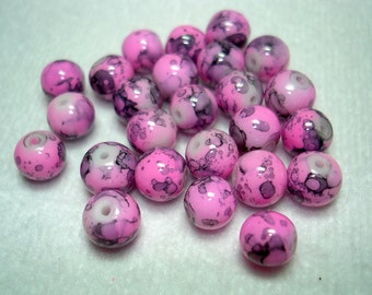 Pink and Black Swirl Glass Round Beads (Qty 25) - B2773
