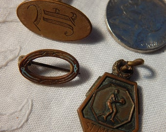Victorian Medal, Pin and Man's Cuff Link - Early 1900's