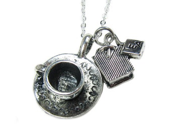 Tea Cup and Tea Bag Necklace  (T4)