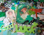 St.Patrick's Day Inspiration Kit For Scrapbooking, Card Making, Journals, SMASH Book, Altered Mixed Media Art Collages
