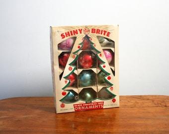vintage 50s Shiny Brite Merry Christmas Novelty Printed Retro Christmas Ornaments // Stenciled Glass Holiday Ornaments