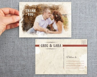 """50+ Wedding, Thank You, Postcard, with photo, rustic, """"Painted Style"""""""