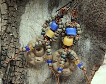 Handmade, Ceramic Beaded Earrings, Glass Beads, Aged Picasso Beads, Cheldena Artwear