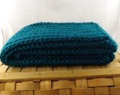 Peacock blue green Alpaca Blend Crochet Scarf ... awesome for men or women