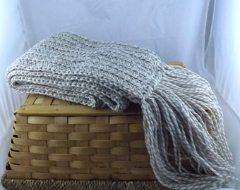 Hearty Oatmeal The Boyfriend Scarf 100% new wool crocheted huge scarf in natural beige marl