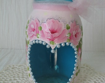 Aqua Glass Jar Heart Hand Painted Pink Roses Candle Holder Flower Pot Bath Kitchen storage