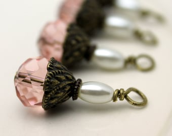 Bead Dangle Pink Rondelle Crystal and Rice Pearl Brass Vintage Style Earring Dangle Necklace Charm Set