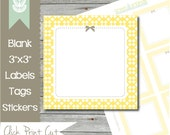"""Printable Labels Tags - INSTANT DOWNLOAD - 3"""" Square Butter Yellow Printable Labels, Sticker, Tag, Mason Jar Labels, Gift Tag"""