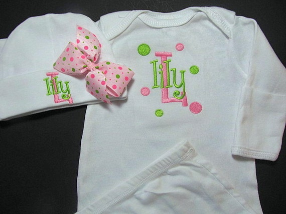 Personalized Baby Clothes Gown Sleeper With Mitten Cuffs Hat