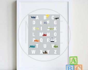 Alphabet poster, Transportation nursery, ABC wall art 8 x 10 Print by nevedobson - available in different sizes and colors