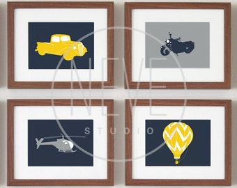 Transportation Wall ART, baby boy nursery art, set of 4, 5 x 7 PRINTS - you choose the colors and vehicles