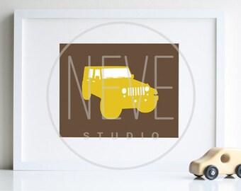 Baby Boy Nursery ART, jeep art transportation room decor - 8 x 10 art print