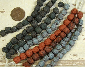 A Strand of Handmade Ceramic Stoneware Blob Beads, Great Jewelry Components, Hand Finished with Terra Sigillata Hues and Gilders Paste