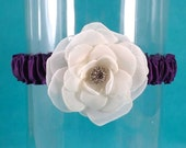 Bridal Garter, Eggplant Purple wedding, Ivory Rose Garter J112, bridal garter