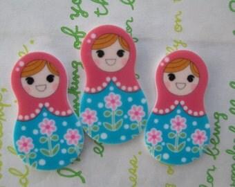 Matryoshka Russian Doll Cabochons 3pcs Flat Pink Teal New item