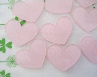 Glitter heart acrylic cabochons 4pcs 32mm x 26mm Light pink new item