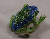 Vintage Frog Toad Brooch Pin with Sparkling Blue Green Rhinestones Figural