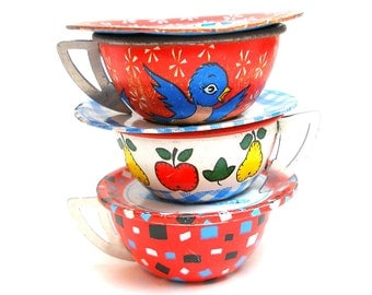 50s Tin Toy Tea Cups & Saucers, Bluebird and fruit, Red white blue, Instant Collection,