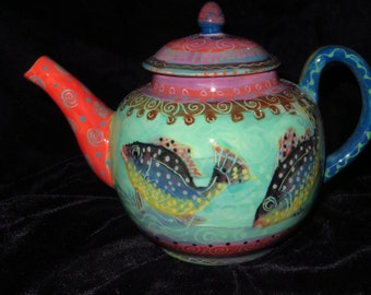 Fish teapot, wonderful tropical colours, great patterns