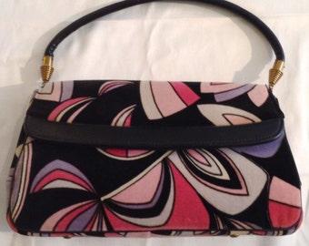 1960s Pucci-esque print velveteen purse