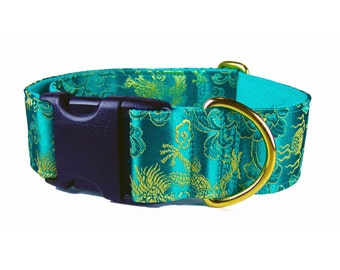 Fancy Dog Collar , Custom Dog Collars , Emerald Green Dog Collar in Exotic Dragons Silk