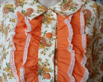 Vintage 1970s Paisly Ruffled Front  Shirt Dressed...M/L