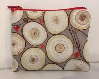 Tree Slices Coin Purse - Cotton Change Purse - Small Zipper Pouch