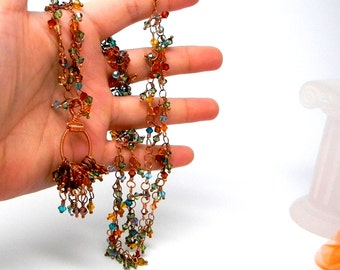 Shaggy Ultra Long 33 Inch Hand linked Copper & Swarovski Crystal Elements Necklace with Cluster Pendant