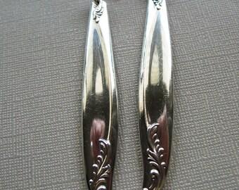 Long, Dangle, Vintage, Silver Plate Spoon Handles on Silverplate Stud Earrings