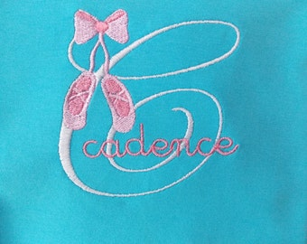 Personalized Dance Shirt, Embroidered, Ballet Shoes, Toe Shoes, Girls, Dance Outfit
