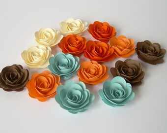 15 Canyon rolled paper flowers, wedding decoration,scrapbook decoration,table decoration, rosette,small flower,embellishment