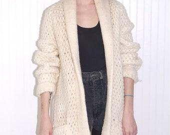 Vintage 80s Cream Chunky Knit Belted Mountain Coat Jacket Cardigan