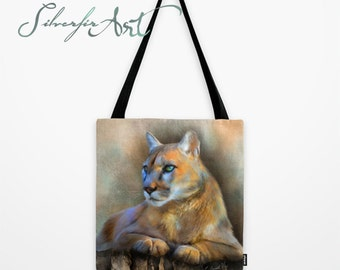 Kia... 15x15 inch Fully Printed Tote... Cougar Wildlife Study Sketch Art... Double-Sided Printing