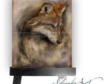 ACEO / ATC Ava... Red Wolf Sketch... Wolf Wildlife Study Painting Print...