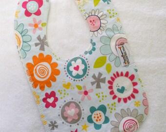 Aqua Blue Doodle Floral Drooler Bib - Snap - Non wicking fleece back - Middle layer Organic cotton