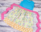 Girls Knit Tank Dress, Spring Blooms Pink Green Yellow Turquoise by Charming Necessities summer Toddler Girl