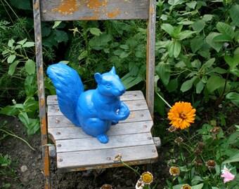 Ceramic Squirrel, Standing, True Blue Indoor/Outdoor Art Sculpture, Garden Ornament