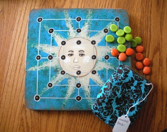 FREE SHIP Mill Nine Men's Morris Sun Face wooden Wood Board Game with turquoise blue arabesque zip top pouch, rules - BearlyArtDesigns