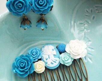 Blue Skeletina Skull Lady Comb and Dangle Studs Set