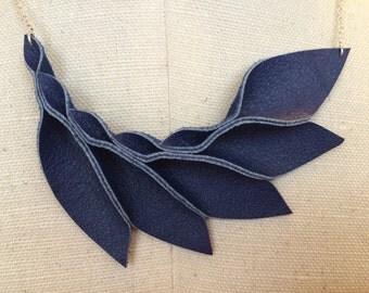 Petal Collection:  Blue Petals Leather Necklace