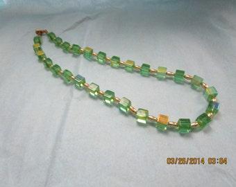 Vintage Green Glass Cube Choker