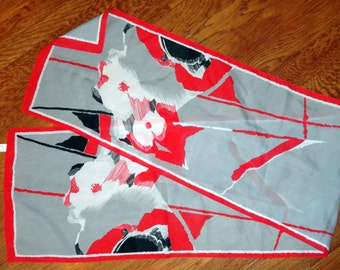 Italian Vintage Abstract Floral Scarf red, black, white, gray (Italy) 11X52 polyester