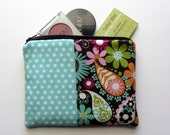 Medium Zipper Bag - Aqua, Orange, Lime, Pink Paisley and Dots, Make up Bag, Cosmetic Bag