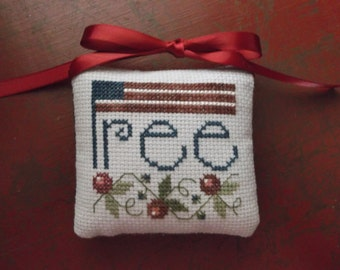 "Completed Cross Stitch ""Free"" Pinkeep, Primitive Americana Folk Art, Primitive Folk Art Pin Cushion, Farmhouse Decoration"