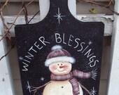 Painting Pattern snowman on Breadboard