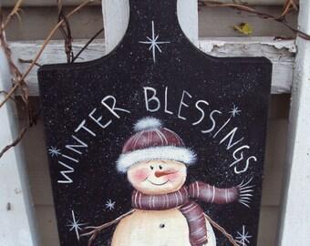 SALE!  Beginner Painting Pattern snowman on Breadboard