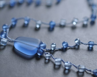 Frosted Blue Beachglass crocheted long tunic necklace