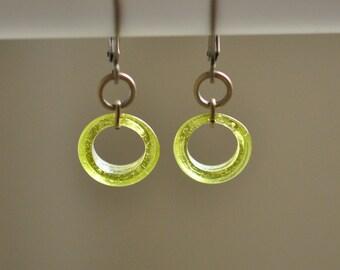 Lime Green Circle brass dangle earrings