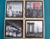 Travertine Tile Coaster Set  New York City